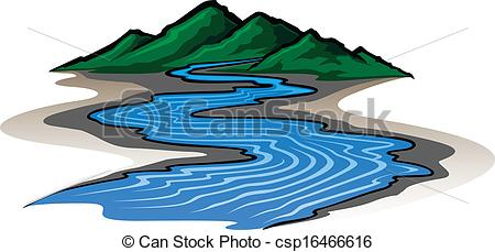 ... Mountains and River - Illustration of a graphic style.