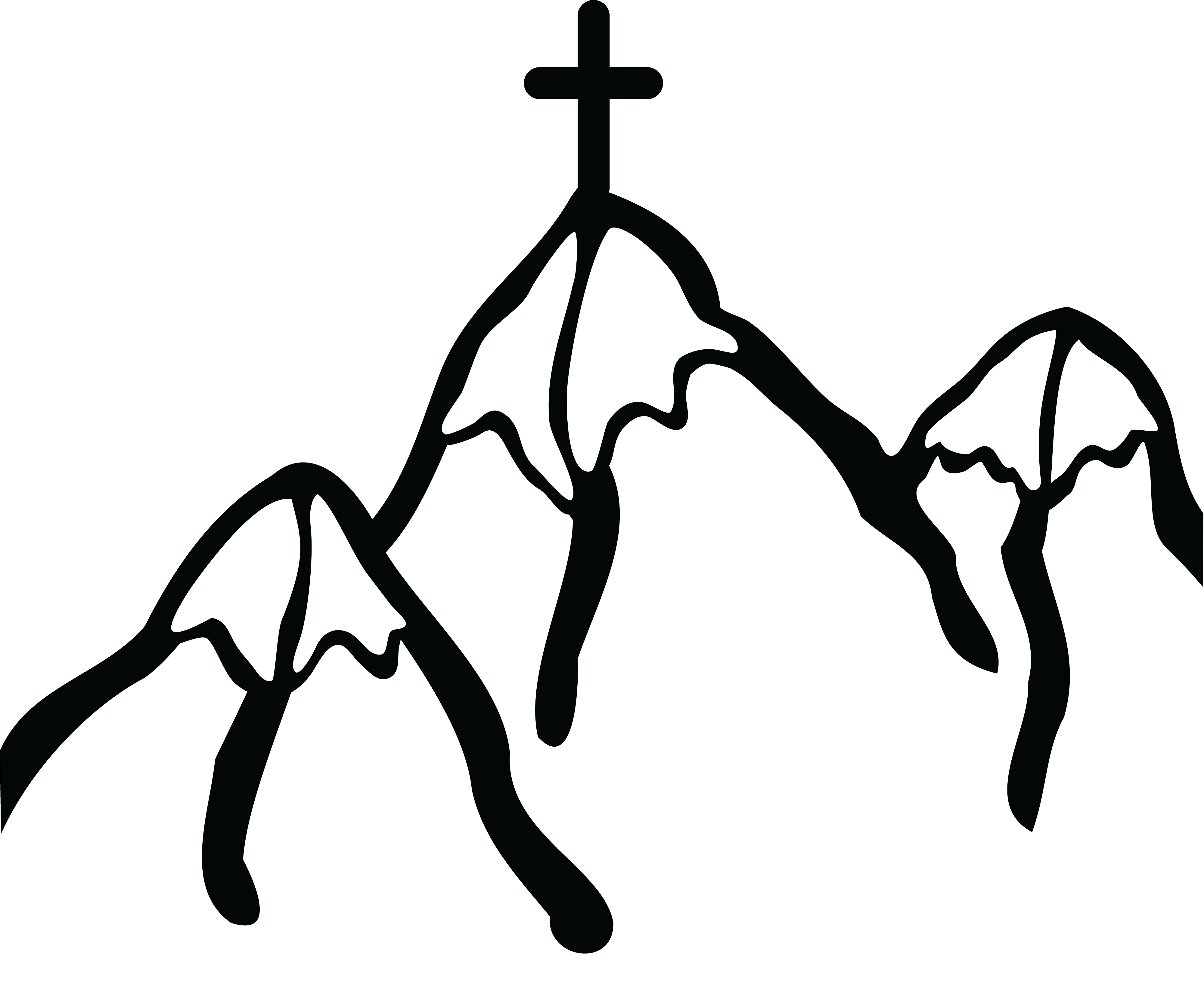 Free Clipart Of A Cross on Mountains #00011038 .