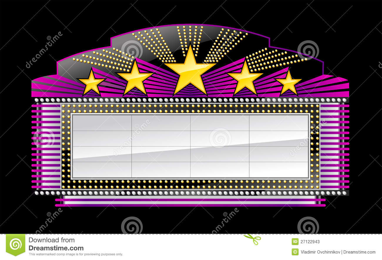 Movie Marquee Clipart Black And White Marquee Banner Black