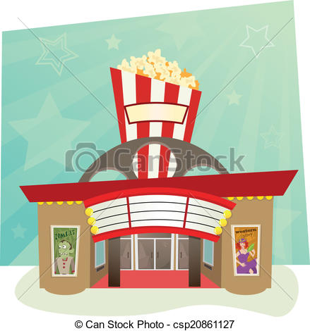 ... Movie Theater - stylized movie theater with stars in the.