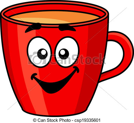Colorful red cartoon mug of coffee - csp19335601