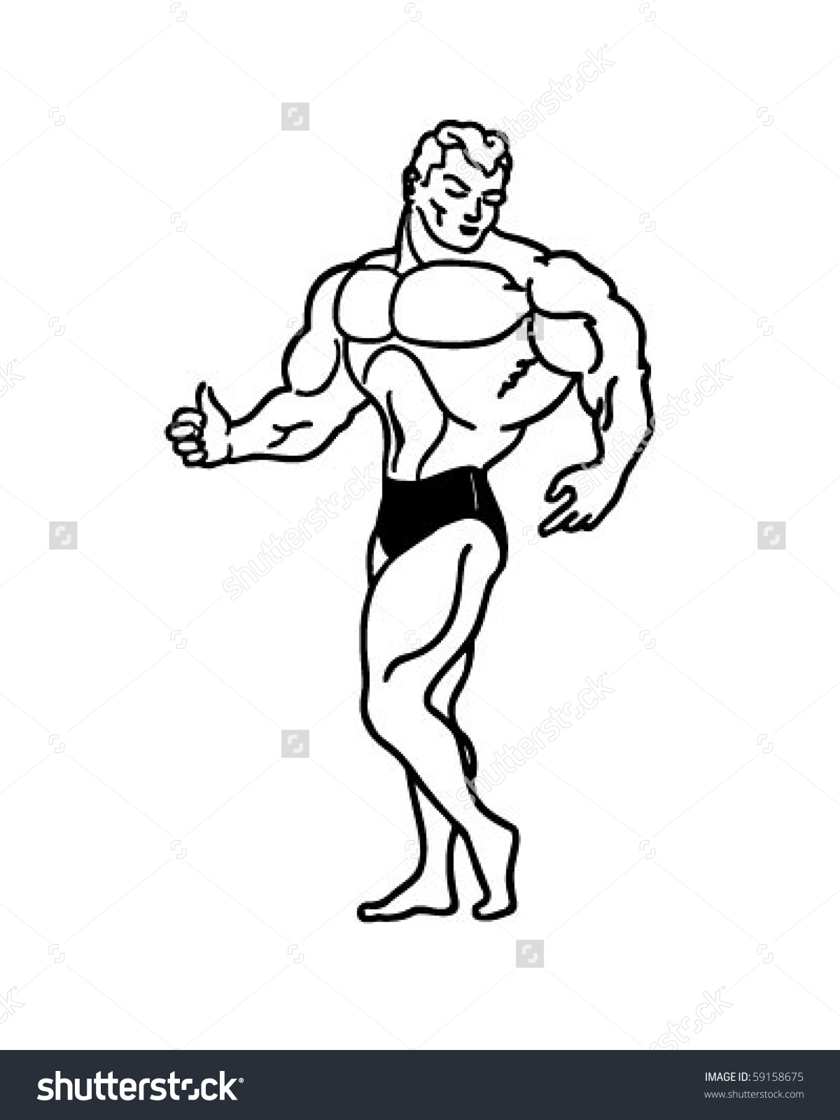 Muscle Man - Retro Clip Art