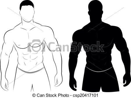... Muscle man silhouette - Vector illustration of muscle man... Muscle man silhouette Vector Clipartby ...