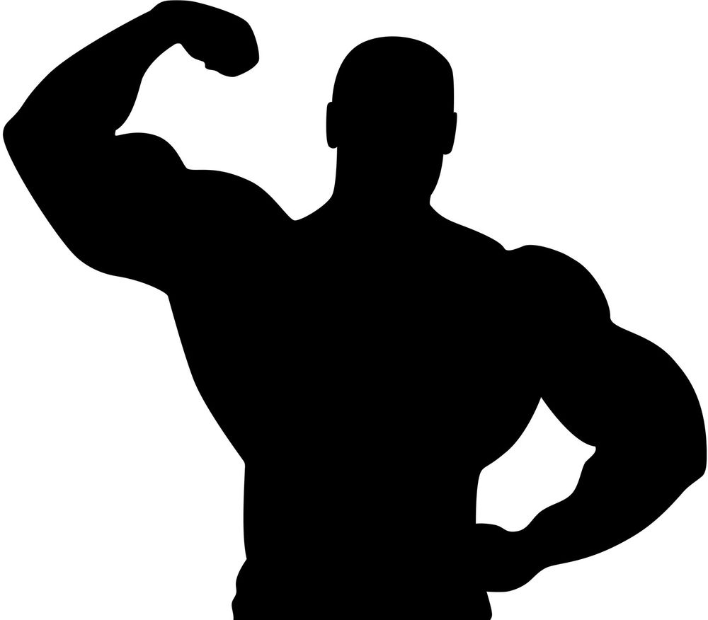 Muscle Man Silhouette Vinyl Wall Art Sticker Big Muscles Gym Body