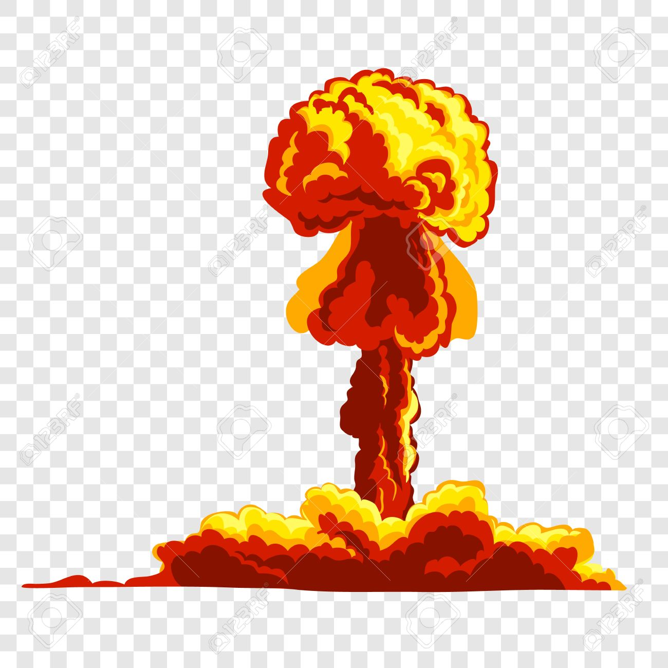 Mushroom cloud. Orange and red illustration on transparent background Stock  Vector - 51730523