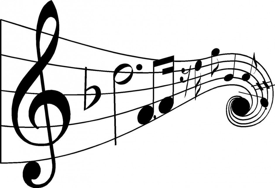 music notes clip art | white- - Music Notes Clipart Black And White