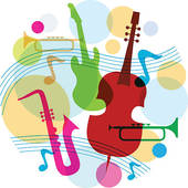 Music tree. music template with notes, guitar and saxophone