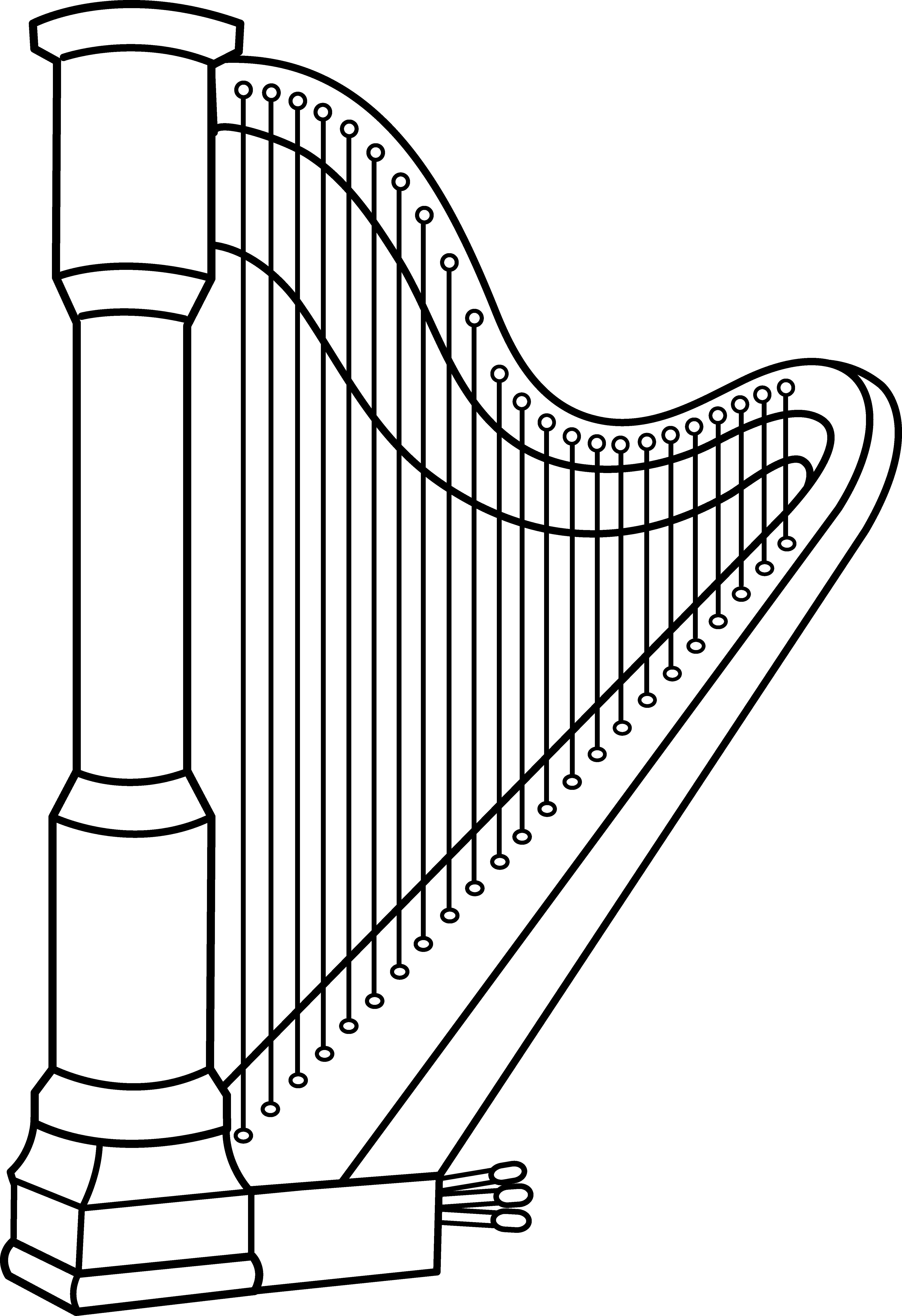 Musical harp line art free clip clipart
