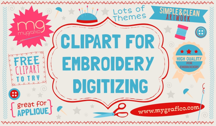 Mygrafico Cliparts for Embroidery Digitizing