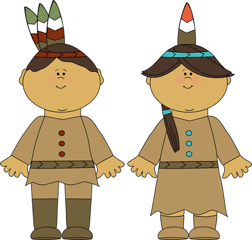 Native American Indian Boy and Girl and Girl