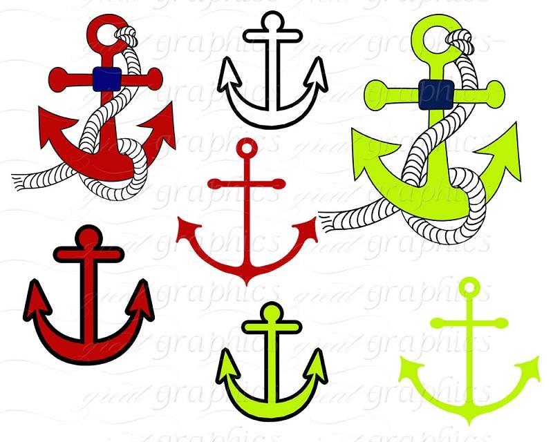Nautical Clip Art, Digital Clip Art Anchor Nautical Flag Clipart