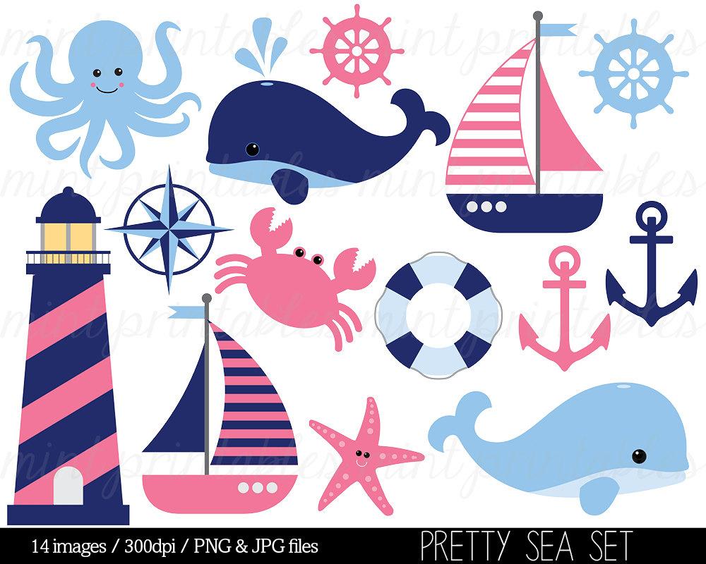 Nautical Clipart Clip Art Anchor Clipart Blue By Mintprintables