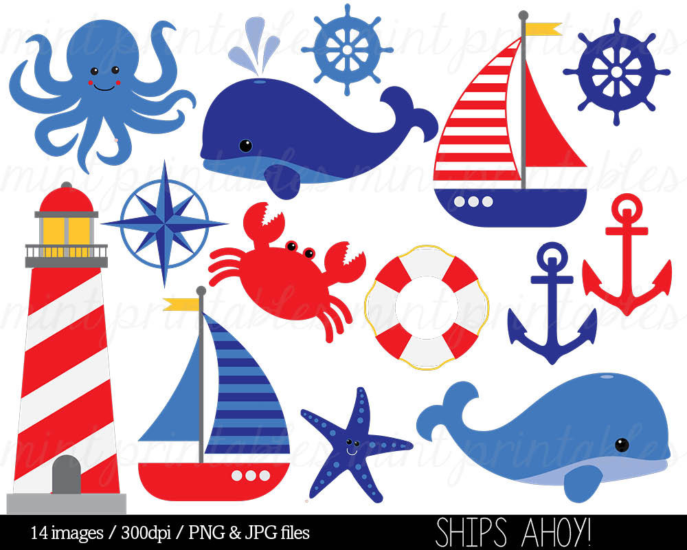 Nautical Clipart Clip Art, Anchor Clipart, Whale Clipart, Sailing Ocean Lighthouse Sailboat Sea - Commercial u0026amp; Personal - BUY 2 GET 1 FREE!
