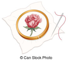 ... Needlepoint Embroidery, Red Rose - Wood embroidery hoop with.