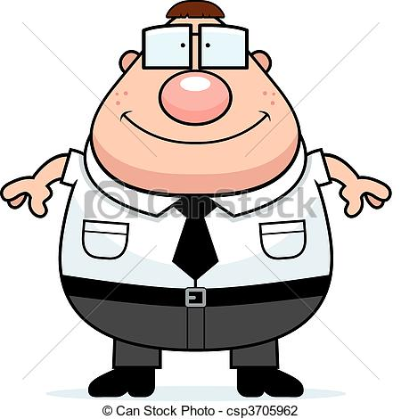 ... Nerd Smiling - A happy cartoon nerd standing and smiling.