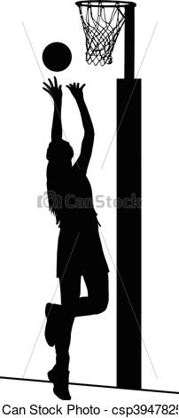 Silhouette of girls ladies netball player shooting for goal - csp39478257