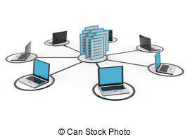 Network Database Stock Illustrationsby rbhavana7/352; Abstract computer network with laptops and archive or.