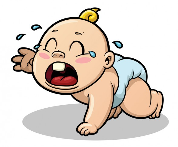 Newborn girl crying clipart