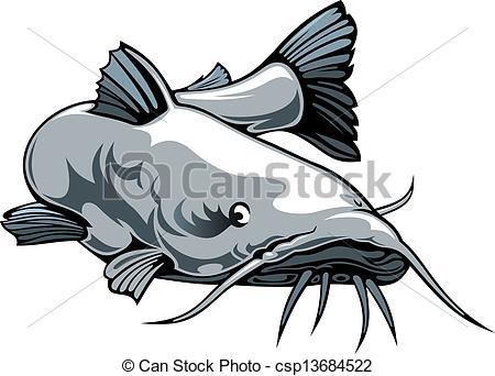 ... nice catfish - nice illustrated catfish isolated on white... nice catfish Clip Artby ...