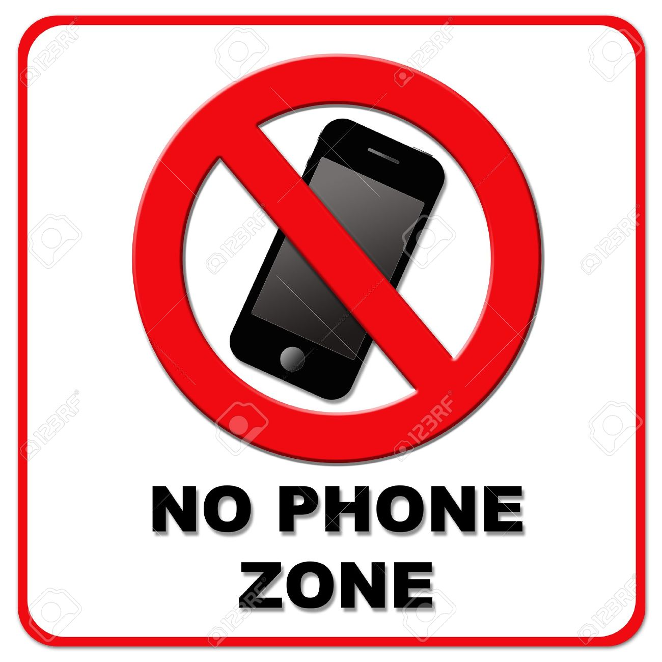 no cell phone: Black and red .