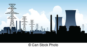 ... Nuclear Power Station - A skyline silhouette of a nuclear.