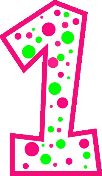 Number 1 Pink And Green Polkadot R Clip Art At Clker Com Vector