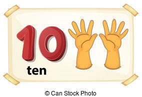 ... Number 10 - Illustration of a flashcard number 10
