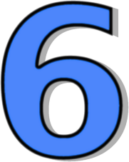 Number 6 Blue Signs Symbol Alphabets Numbers Outlined Numbers Blue
