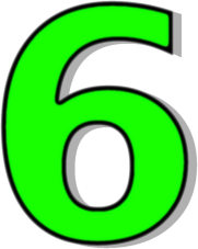 Number 6 Green Signs Symbol Alphabets Numbers Outlined Numbers