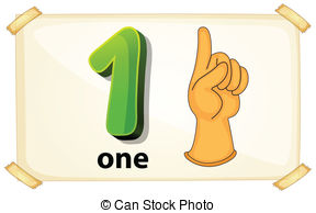 ... Number One - Illustration of a flashcard number one