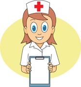nurse standing with patient file. Size: 65 Kb