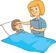 Nurse taking care of sick child. Size: 74 Kb From: Medical