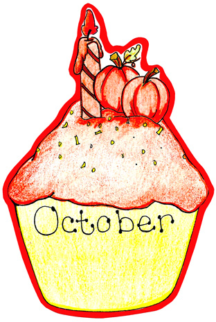 October Birthday Clipart October Birthday Cupcake