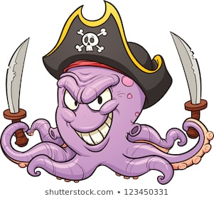 Cartoon pirate octopus. Vector clip art illustration with simple gradients.  All in a single
