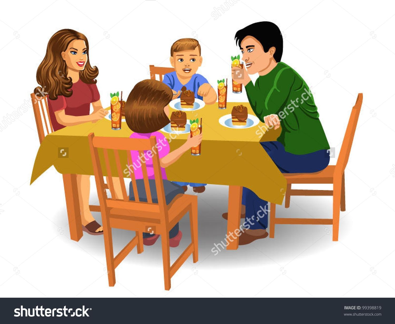 of family eating breakfast