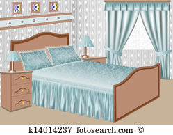 of the interior of a bedroom with a satin gown