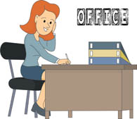 office worker sitting at desk. Size: 64 Kb