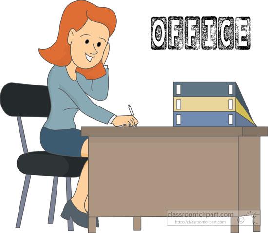 office worker sitting at desk. Size: 64 Kb