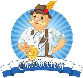 Oktoberfest Bavarian Label with stripe for text