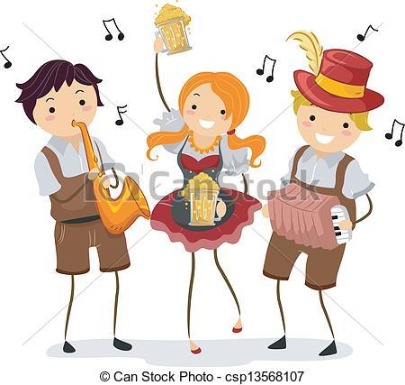 ... Oktoberfest - Illustration of People celebrating Oktoberfest