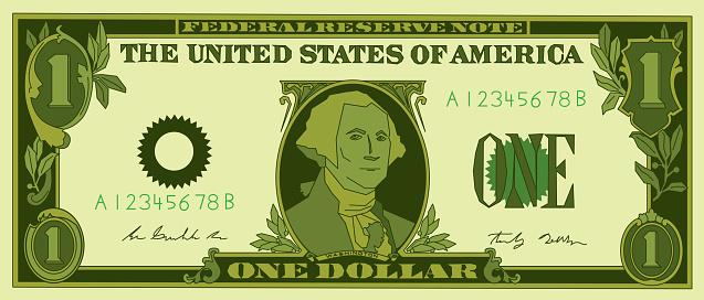 One Dollar Bill Stylized .