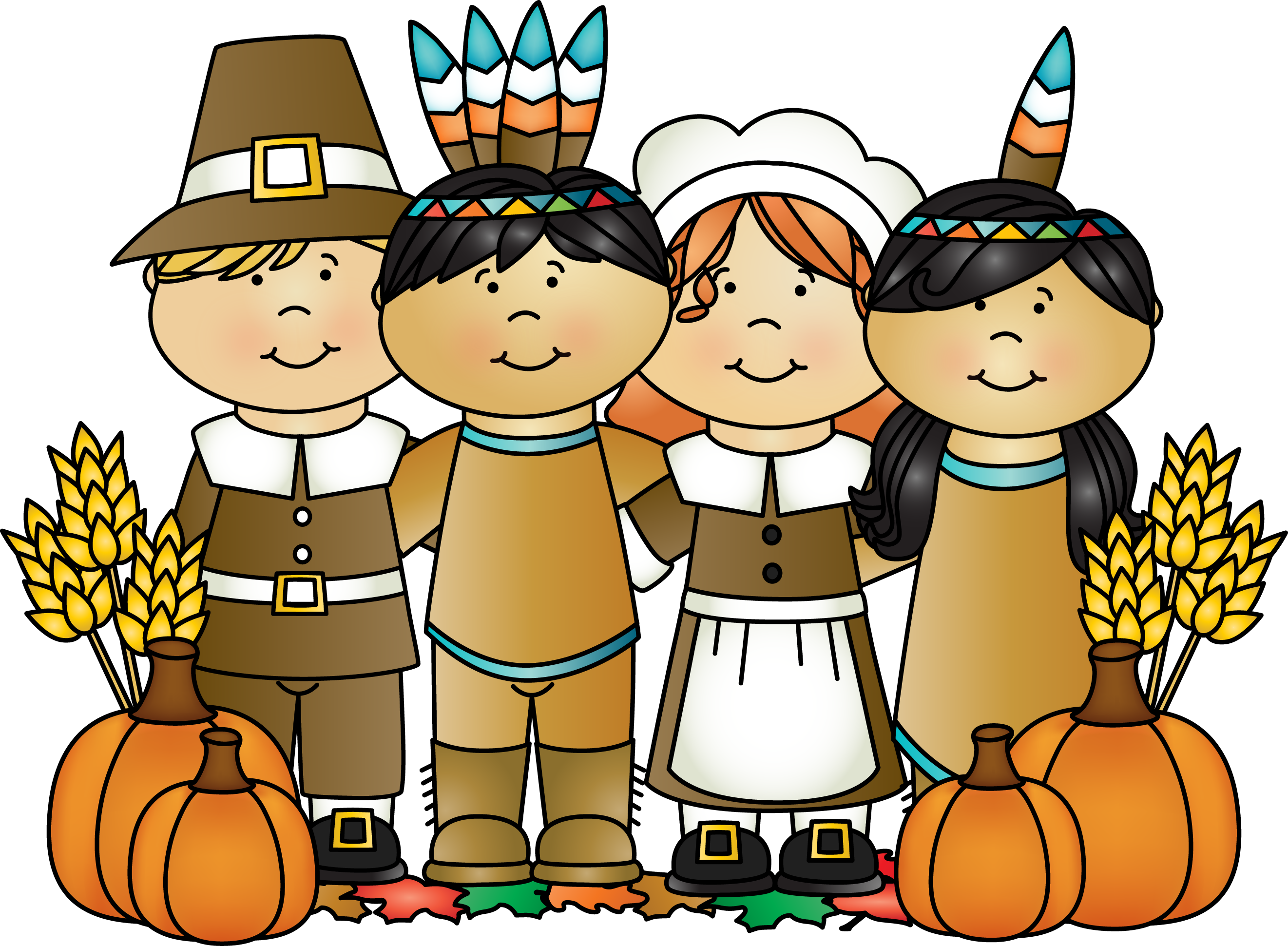 One of the Indians who was called Squanto came to help the Pilgrims for a while, and he showed them how to plant corn, pumpkins, wheat and barley.