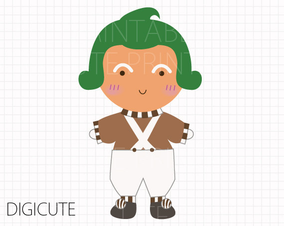 Oompa Loompa from Willy Wonka and the Chocolate Factory Kids Clip Art, INSTANT DOWNLOAD,