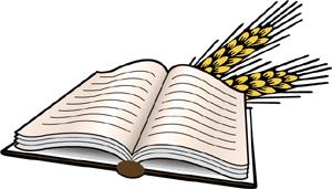 ... Open Bible with heads of wheat   Bible Clip Art - Christart. ...