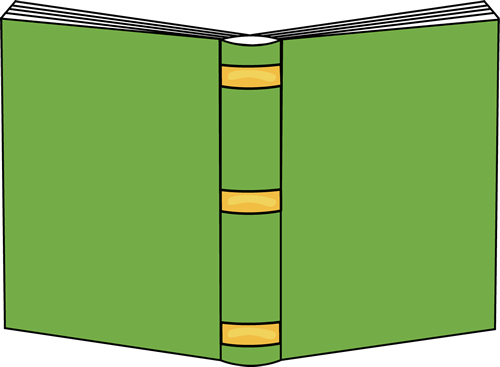 Open Book Clip Art Image - green open book with yellow trim on the book spine.