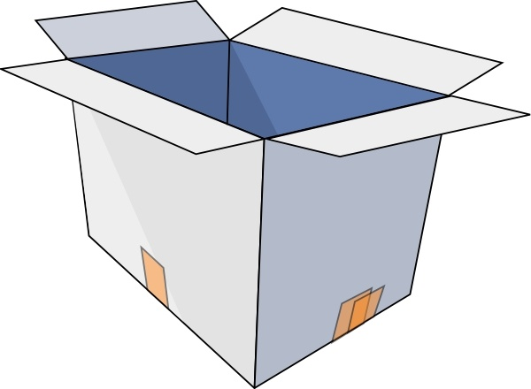 3d Empty Open Box clip art