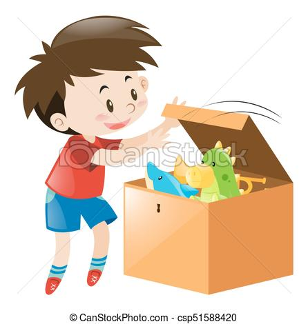 Boy Open Box Full Of Toys - Csp51588420