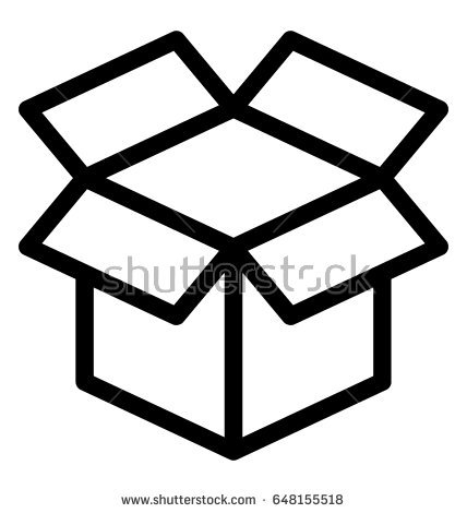 Open Box Line Vector Icon