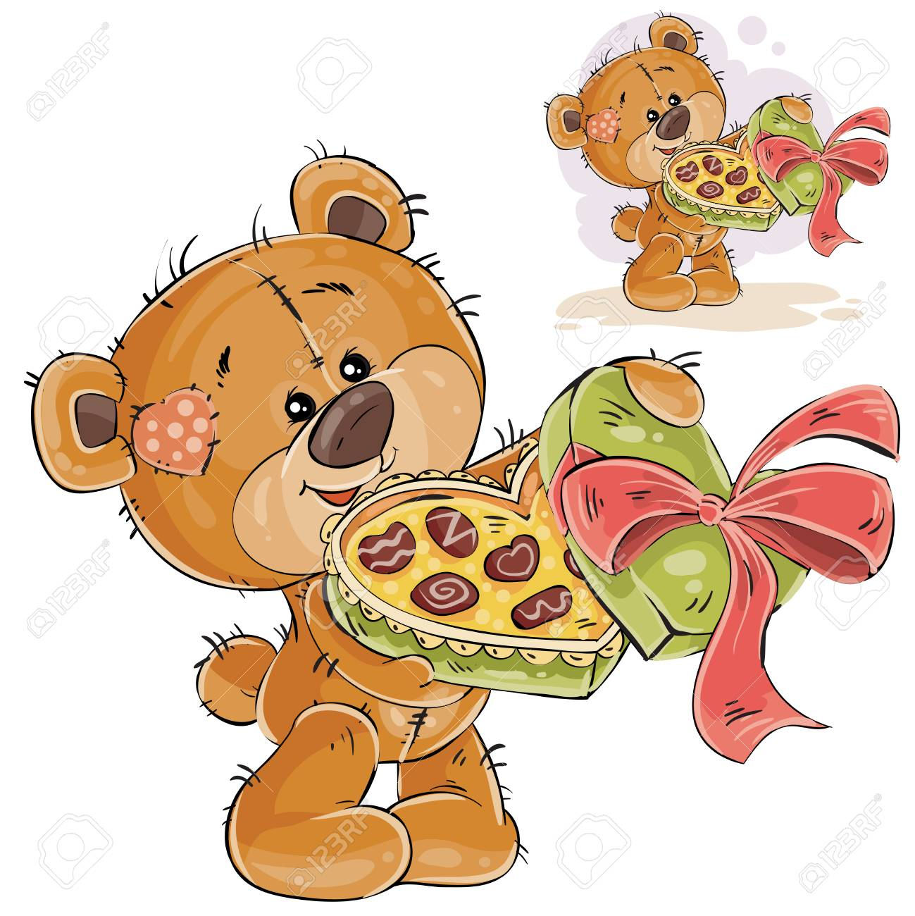 Vector illustration of a brown teddy bear holding an open box of chocolates  in its paws