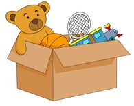 open box filled with kids toys clipart. Size: 55 Kb